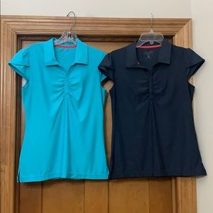 Athleta Wonder Wick-It Polo Tees Medium Teal/Gray
